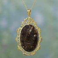 Gold plated seraphinite pendant necklace, 'Earthen Reflection' - Handmade Brown Seraphinite Pendant Necklace from India