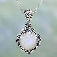 Rainbow moonstone pendant necklace, 'On a Breeze' - Rainbow Moonstone and Sterling Silver Necklace from India