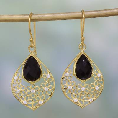Gold plated onyx dangle earrings, Garden of the Night