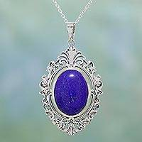Lapis lazuli pendant necklace, 'Sky's Reflection' - Lapis Lazuli and Sterling Silver Pendant Necklace from India