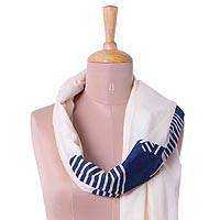 Cotton scarf, 'Alabaster Whisper' - 100% Cotton Alabaster and Navy Wrap Scarf from India