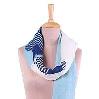 Cotton scarf, 'Sky Blue Whisper' - Hand Woven Sky Blue 100% Cotton Wrap Scarf from India