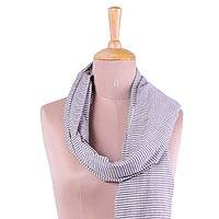 Cotton scarf, 'Lavender Delight' - Hand Woven Lavender Striped 100% Cotton Scarf from India
