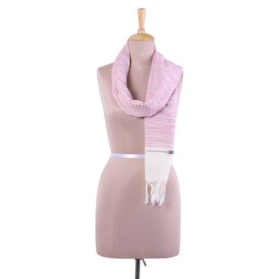 Cotton scarf, 'Pink Delight' - Hand Woven Pink Striped 100% Cotton Wrap Scarf from India