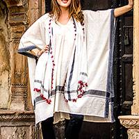 Cotton caftan, 'Mystic Morning' - Ivory and Charcoal Cotton Poncho Style Caftan