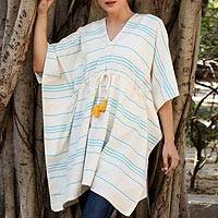 Cotton caftan, 'Turquoise Waves' - Striped Cotton Thorthu Beach Cover-Up Caftan from India