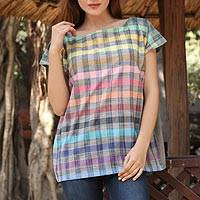 Cotton tunic, 'Checkered Fascination' - Artisan Handwoven Multicolor Checkered Cotton Tunic