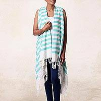 Cotton swimsuit cover-up, 'Beach Lover in Mint' - Hand Woven 100% Cotton Swimsuit Cover Up from India
