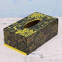 Decoupage wood tissue box cover, 'Golden Mystery' - Handmade Yellow and Black Hibiscus Indian Tissue Box Cover