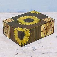 Decoupage wood decorative box, 'Sunflower Wall' - Decoupage Wood Sunflower Decorative Box from India
