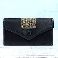 Satin and leather accent clutch, 'Evening Elegance' - Embroidered Black Satin Clutch from India