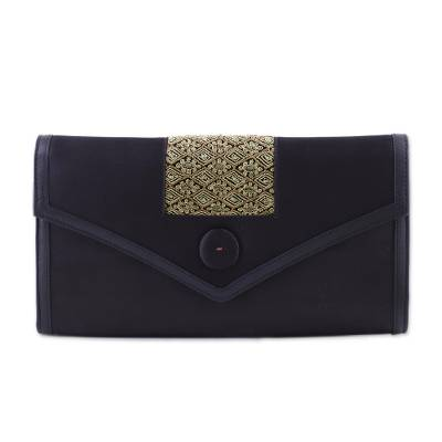 Embroidered Black Satin Clutch from India