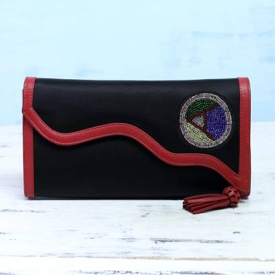 Leather accent satin clutch, 'Worldly Beauty' - Leather Accent Embroidered Satin Clutch from India
