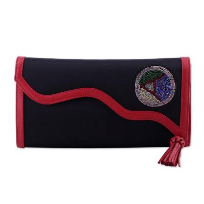 Leather Accent Embroidered Satin Clutch from India