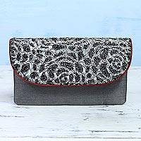 Silk and leather accent clutch, 'Spotted Beauty' - Lacy Silk and Leather Accent Clutch Handbag from India