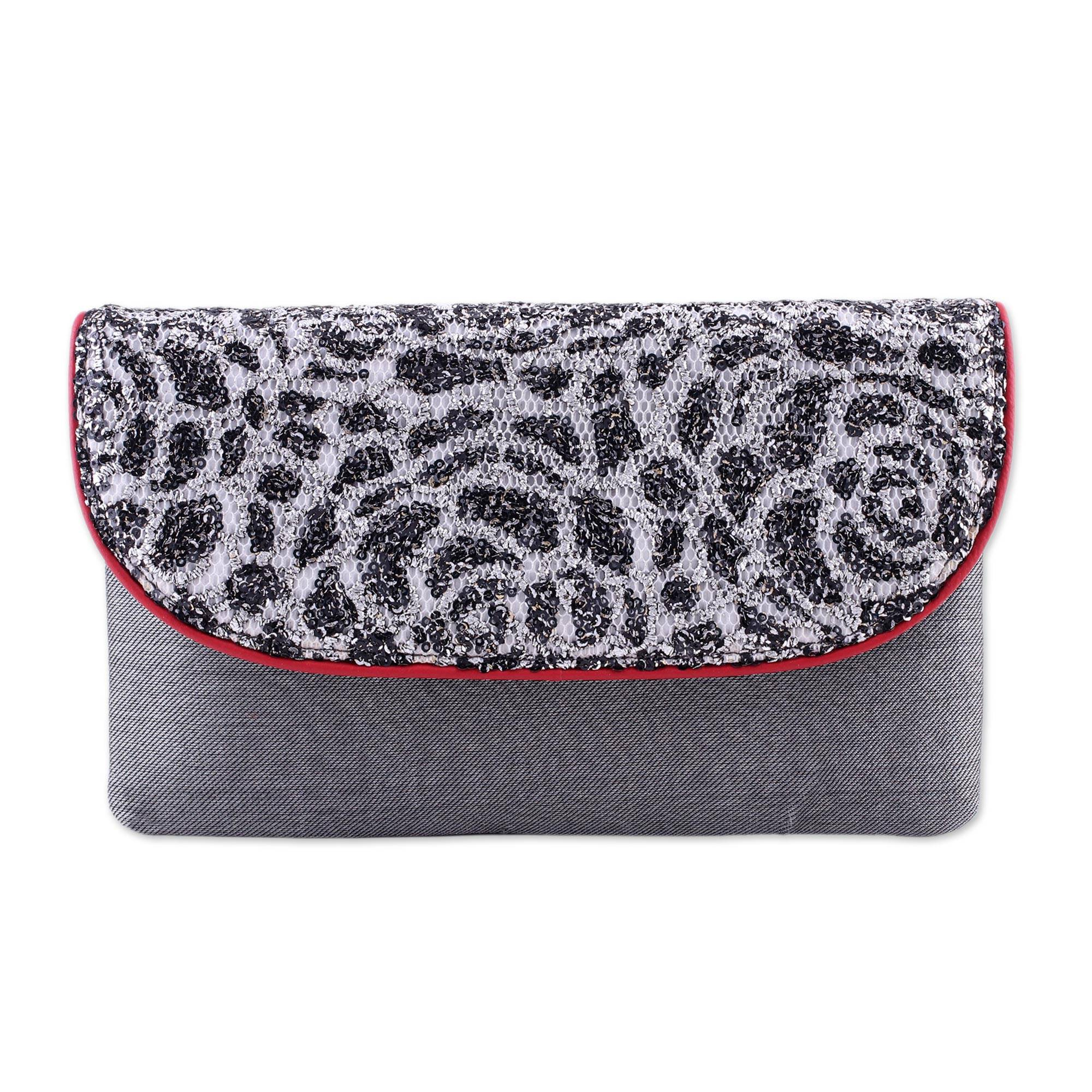 Novica Silk and leather accent clutch, Spotted Beauty