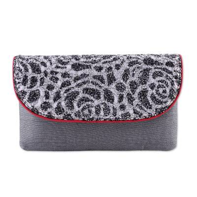 Lacy Silk and Leather Accent Clutch Handbag from India