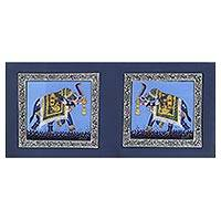 Miniature painting, 'Triumphant Blue Elephants' - Signed India Miniature Folk Art Painting of Blue Elephants