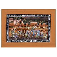 Miniature painting, 'Majestic Cavalcade' - Indian Miniature Painting on Tangerine Orange Silk