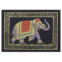 Miniature painting, 'Black Majestic Elephant' - India Miniature Black Elephant Folk Painting on Silk