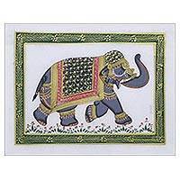 Miniature painting, 'Grey Majestic Elephant' - Grey Royal Indian Elephant Signed Miniature Painting on Silk