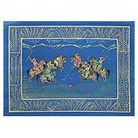 Miniature painting, 'Polo by the Sea' - Signed Blue Miniature Painting of a Polo Game in India