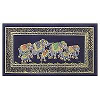 Miniature painting, 'Blue Night Royal Elephant Herd' - Indian Elephant Theme Miniature Painting on Blue Silk