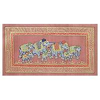 Miniature painting, 'Royal Elephant Herd' - Indian Elephant Theme Miniature Painting on Nutmeg Silk