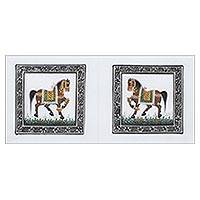 Miniature painting, 'Royal Stride' - Handcrafted Miniature Painting of Two Horses on 100% Silk