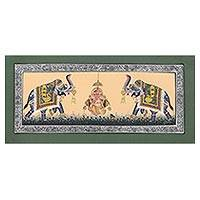 Miniature painting, 'Elephants Praise Ganesha' - Miniature Silk Portrait of Ganesha with Two Royal Elephants