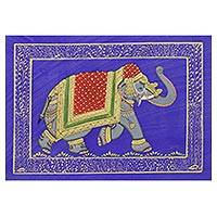 Miniature painting, 'Sapphire Majestic Elephant' - Royal Mughal Elephant on Blue Indian Miniature Painting