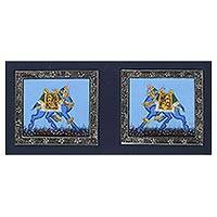 Miniature painting, 'Proud Blue Mughal Camels' - Signed Indian Blue Camel Theme Miniature Painting on Silk