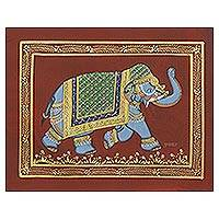 Miniature painting, 'Russet Majestic Elephant' - Signed Royal Mughal Miniature Folk Painting on Silk