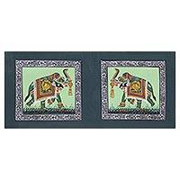 Miniature painting, 'Triumphant Green Elephants' - Signed India Miniature Folk Art Painting of Green Elephants