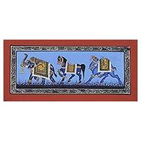 Miniature painting, 'Majestic Steeds' - India Miniature Folk Painting on Silk in Shades of Blue