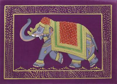 ef85c6418c Miniature painting, 'Purple Majestic Elephant' - Traditional Indian Elephant  Theme Purple Miniature Painting