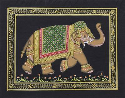 5ff0fc41e9 Miniature painting, 'Midnight Majestic Elephant' - Vintage Style Indian  Mughal Elephant Painting on