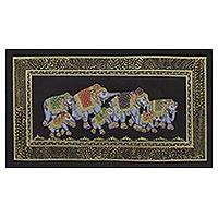 Miniature painting, 'Black Royal Elephant Herd' - Elephant Theme Mughal Indian Miniature Painting on Silk