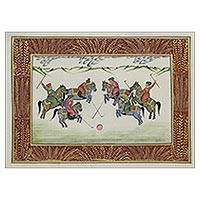 Miniature painting, 'Polo in the Snow' - Polo Theme India Signed Mughal Miniature Painting