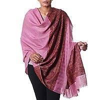 Cashmere shawl, 'Royal Magenta' - Paisley Motif Cashmere Shawl in Magenta from India