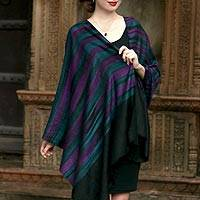 Cashmere shawl, 'Changthang Night' - Handwoven Striped 100% Cashmere Shawl from India