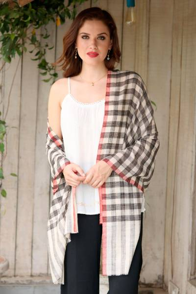 Cashmere shawl, 'Checkered Changthang' - Handwoven Checkered Cashmere Wool Shawl from India