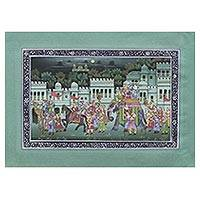 Miniature painting, 'Royal Travels' - Jade Tone Signed Indian Mughal Miniature Painting on Silk