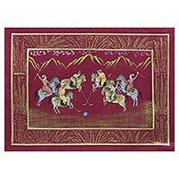Miniature painting, 'Polo on Burgundy' - Signed Burgundy Mughal Miniature Folk Painting on Silk