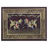 Miniature painting, 'Polo on Brown' - Miniature Silk Portrait of a Polo Game in Old India