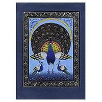 Miniature painting, 'Blue Peacock Splendor' - Signed Peacock Theme Blue Silk Indian Miniature Painting