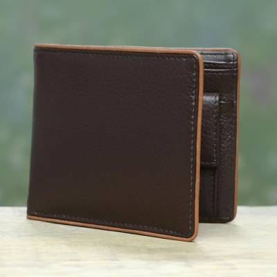 Men's leather wallet, 'Just Right in Espresso Brown' - Brown Leather Wallet for Men with Coin Purse Made in India