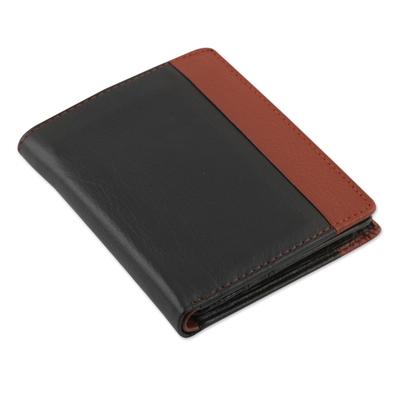 Men's leather wallet, 'Symphony in Ebony and Russet' - Ebony and Russet Multipocket Leather Wallet for Men