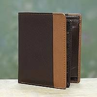 Men's leather wallet, 'Symphony in Chocolate and Sepia' - Chocolate Brown and Sepia Multipocket Leather Wallet for Men