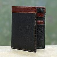 Men's leather wallet, 'Natural Harmony in Black' - Handsome Leather Wallet for Men in Black and Mahogany